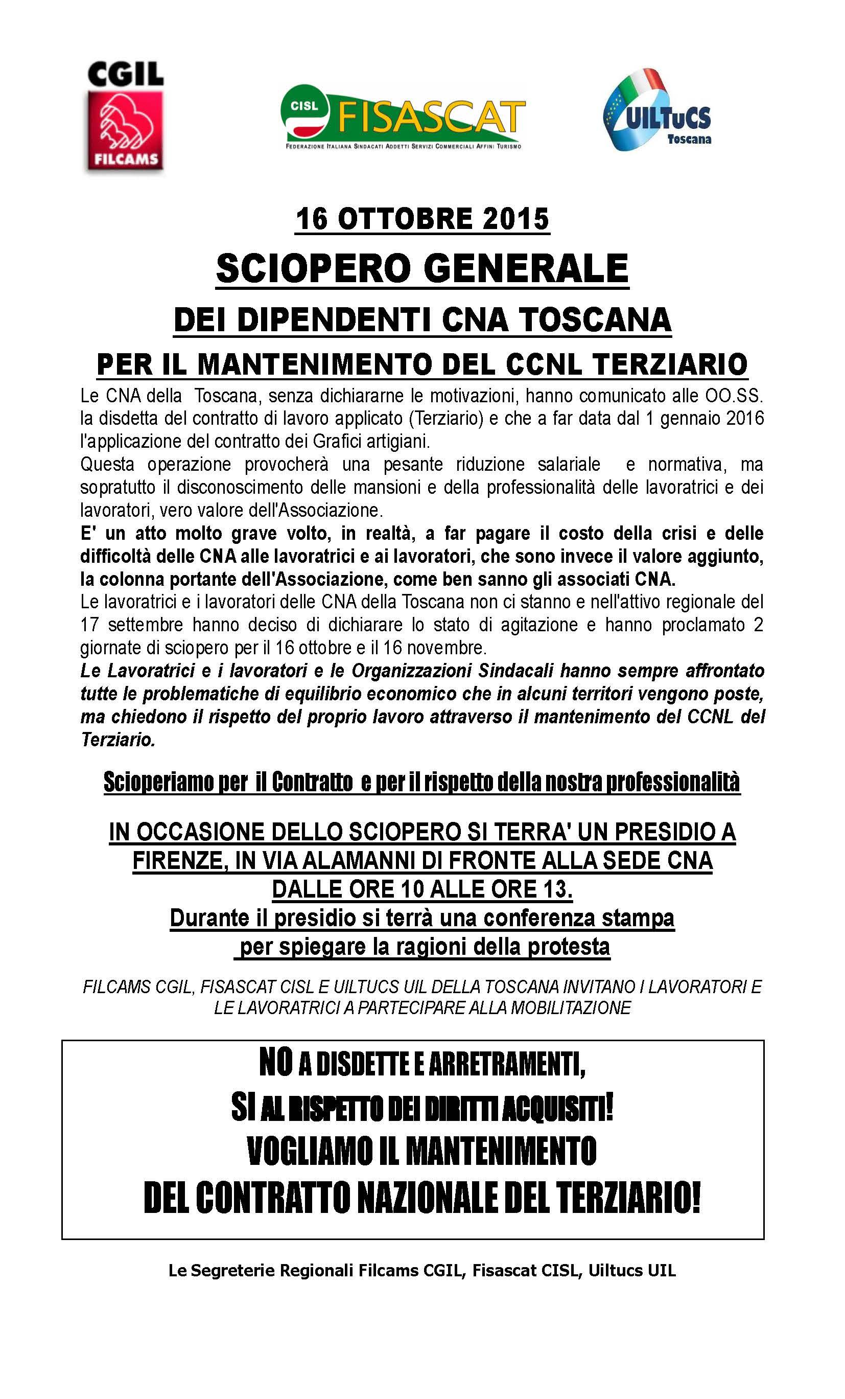 16 ottobre sciopero dei lavoratori cna della toscana at for Costo seminterrato di sciopero