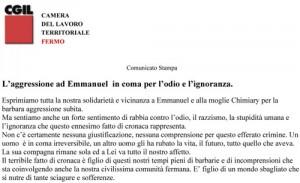 CS aggressione a  Emmanuel